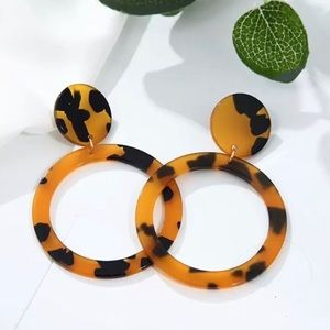 Brown & Black Circle Shaped Fashion Earrings